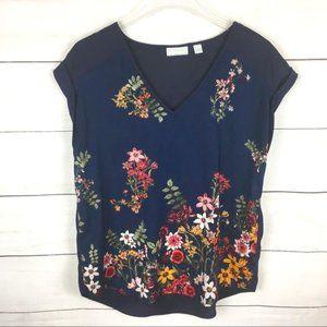 NY & Co Cap Sleeve Floral Blouse Navy M
